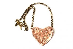 Heart necklace Jewelry made from recycled brass with rose gold or silver.