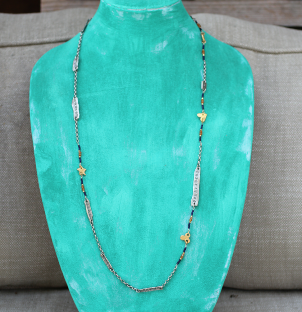 Rise Up Mantra Necklace on bust